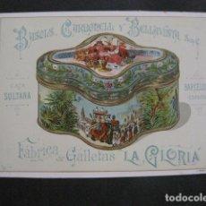 Coleccionismo de carteles: GALLETAS LA GLORIA-PEQUEÑO CARTEL- CAJA LATA - BASOLS CARBONELL Y BELLAVISTA -VER FOTOS-(V-11.088). Lote 86749076