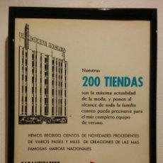 Coleccionismo de carteles: CUADRITO -20*30- PUBLICIDAD EL CORTE INGLÉS 1966 - EL CORTE INGLES. Lote 87193464
