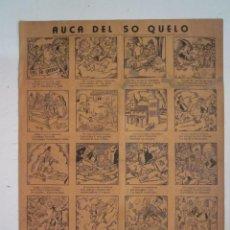 Coleccionismo de carteles: CARTEL AUCA DEL SO QUELO AÑOS 40 GRAFICAS VIDAL VALENCIA 40 VIÑETAS DOS CARAS. Lote 87311944