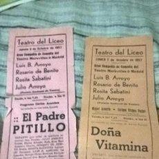 Coleccionismo de carteles: 2 PROGRAMAS DE TEATRO. 1957. SALAMANCA. Lote 89423252