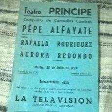 Coleccionismo de carteles: TEATRO. PROGRAMA DE FUNCIONES. SAN SEBASTIÁN. 1959. Lote 89424376