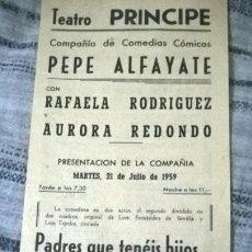 Coleccionismo de carteles: TEATRO. PROGRAMA DE FUNCIONES. SAN SEBASTIÁN. 1959. Lote 89424404