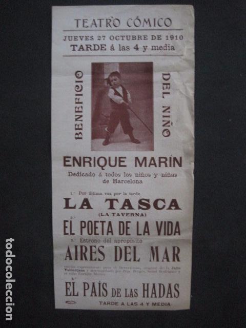 TEATRO COMICO - ENRIQUE MARIN - AÑO 1910 - VER FOTOS -(V-11.580) (Coleccionismo - Carteles Pequeño Formato)