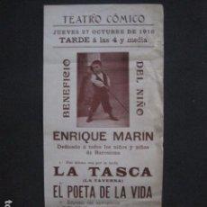 Coleccionismo de carteles: TEATRO COMICO - ENRIQUE MARIN - AÑO 1910 - VER FOTOS -(V-11.580). Lote 89606552