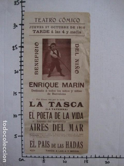 Coleccionismo de carteles: TEATRO COMICO - ENRIQUE MARIN - AÑO 1910 - VER FOTOS -(V-11.580) - Foto 5 - 89606552