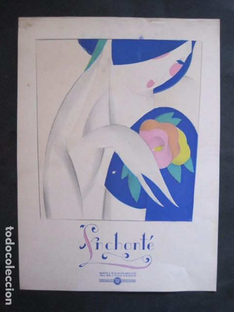 PEQUEÑO CARTEL ANTIGUO - ART DECO - LINCHANTE -VER FOTOS-(V-11.759) (Coleccionismo - Carteles Pequeño Formato)