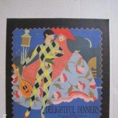 Coleccionismo de carteles: PEQUEÑO CARTEL ANTIGUO - DELIGTFUL DINNERS -VER FOTOS-(V-11.760). Lote 91125320
