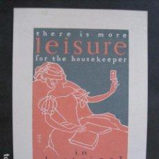 Coleccionismo de carteles: PEQUEÑO CARTEL ANTIGUO - LEISURE FOR THE HOUSEKEEPER -VER FOTOS-(V-11.761). Lote 91126010