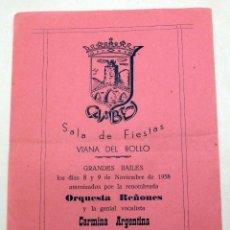 Coleccionismo de carteles: PROGRAMA SALA FIESTAS CAMBEY VIANA DE BOLLO GRANDES BAILES 1958 ORQUESTA REÑONES CARMINA ARGENTINA. Lote 91271320