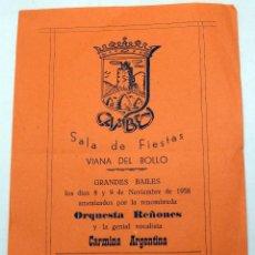 Coleccionismo de carteles: PROGRAMA SALA FIESTAS CAMBEY VIANA DE BOLLO GRANDES BAILES 1958 ORQUESTA REÑONES CARMINA ARGENTINA. Lote 91271370