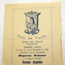 Coleccionismo de carteles: PROGRAMA SALA FIESTAS CAMBEY VIANA DE BOLLO GRANDES BAILES 1958 ORQUESTA REÑONES CARMINA ARGENTINA. Lote 91271430