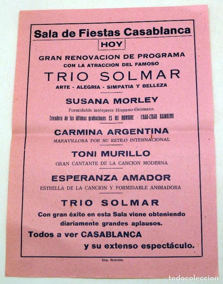CARTEL SALA FIESTAS CASABLANCA PONFERRADA TRÍO SOLMAR SUSANA MORLEY CARMINA ARGENTINA AÑOS 50 (Coleccionismo - Carteles Pequeño Formato)