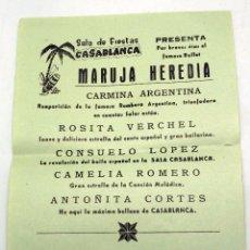 Coleccionismo de carteles: CARTEL PROGRAMA SALA FIESTAS CASABLANCA PONFERRADA BALLET HEREDIA MARUJA CARMINA ARGENTINA AÑOS 50. Lote 91272705