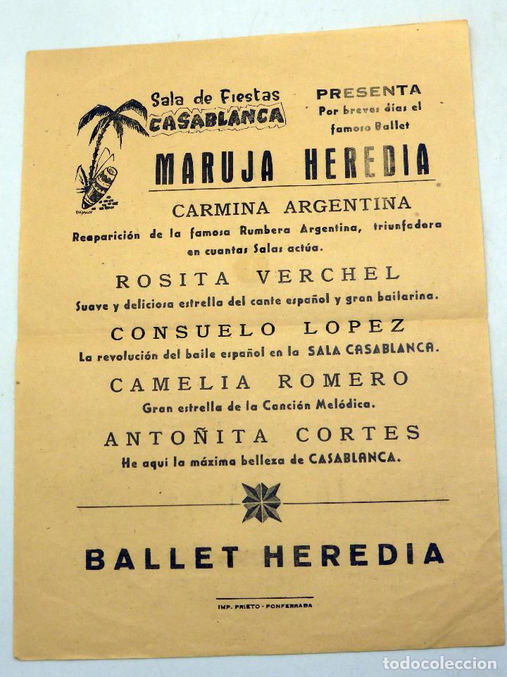 CARTEL PROGRAMA SALA FIESTAS CASABLANCA PONFERRADA BALLET HEREDIA MARUJA CARMINA ARGENTINA AÑOS 50 (Coleccionismo - Carteles Pequeño Formato)