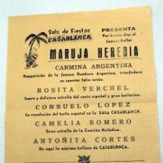Coleccionismo de carteles: CARTEL PROGRAMA SALA FIESTAS CASABLANCA PONFERRADA BALLET HEREDIA MARUJA CARMINA ARGENTINA AÑOS 50. Lote 104968055