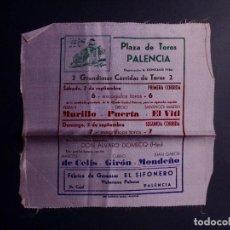 Coleccionismo de carteles: CARTEL PLAZA DE TOROS DE PALENCIA EN TELA DE RASO. Lote 91348190