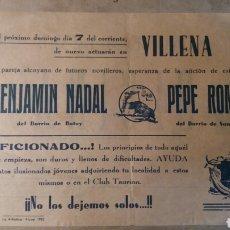 Coleccionismo de carteles: VILLENA TOROS.NOVILLEROS ALCOYANOS. PUBLICIDAD CAFÉ LICOR OLCINA.. Lote 93670405