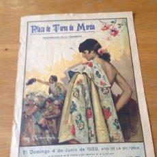 Coleccionismo de carteles: CARTEL DE TOROS PLAZA MURCIA AÑO 1939. Lote 94078750