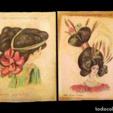 Coleccionismo de carteles: ANTIGUOS CARTELES DE PARAFINA DE SEÑORAS CON PEINADOS DE ÉPOCA, PRECIOSOS.. Lote 29670863