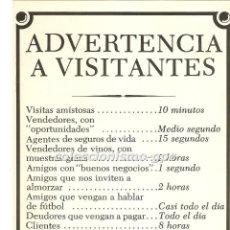 Coleccionismo de carteles: ADVERTENCIA A VISITANTES FOLLETO / CARTEL / MINI POSTER COMICO PUBLICIDAD EDITA POSTERS DEL TIEMPO. Lote 94300358