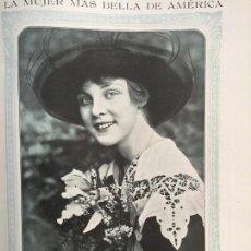 Coleccionismo de carteles: LA MUJER MÁS BELLA DE AMÉRICA JUSTINE JOHNSTONE MISS ESTADOS UNIDOS HOJA REVISTA 1915. Lote 94444342