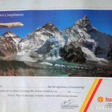Coleccionismo de carteles: POSTER CERTIFICACIÓN ESTANCIA NEPAL E HIMALAYA SIN RELLENAR NUEVO 1997. Lote 94854887