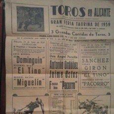 Coleccionismo de carteles: CARTEL DE TOROS EN ALICANTE 1959. Lote 95905919