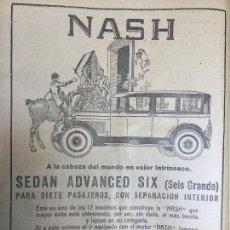 Coleccionismo de carteles: NASH SEDA ADVANCED SIX .AUTOMOVILES ANTIGUOS .HOJA AÑO 1926. Lote 96010835