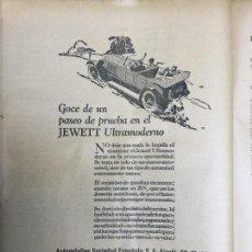 Coleccionismo de carteles: JEWETT ULTRAMODERNO AUTOMOVIL .AUTOMOVILES SOCIEDAD ESPAÑOLA HOJA AÑO 1926. Lote 96010951