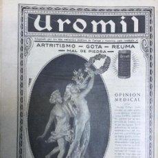 Coleccionismo de carteles: UROMIL ARTRITISMO GOTA REUMA MAL DE PIEDRA HOJA AÑO 1926. Lote 96011031