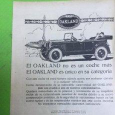 Coleccionismo de carteles: OAKLAND AUTOMOVLES ANTIGUOS GENERAL MOTORS HOJA REVISTA 1926. Lote 96026891