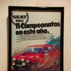 Coleccionismo de carteles: CUADRO PUBLICITARIO SEAT 1980 COMPETICIÓN - SEAT - CAMPEONATO DE ESPAÑA DE RALLY. Lote 96049623