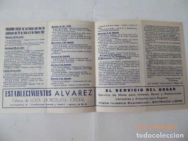Coleccionismo de carteles: malaga en fiestas, publicidad, año 62, folleto. - Foto 2 - 96420651