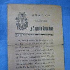 Coleccionismo de carteles: CARTELITO ORACIÓN LA SAGRADA COMUNION. MURCIA. Lote 97056899