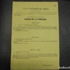 Colecionismo de cartazes: SIGLO XIX PROGRAMA CARTEL SORIA DE VIOLIN AGUSTIN CAIRO GUERRA DE AFRICA HABANERA JOTA ARAGON MALAGA. Lote 97279275