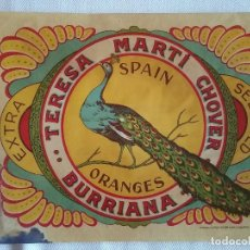 Coleccionismo de carteles: ETIQUETA-CROMO DE NARANJAS TERESA MARTI CHOVER. BURRIANA.. Lote 97508227