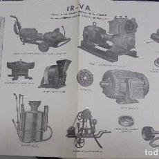 Coleccionismo de carteles: CARTEL PUBLICITARIO. IR-VA. MAQUINAS INDUSTRIALES. 42 X 27CM.. Lote 98765239