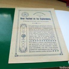Collectionnisme d'affiches: PROGRAMA DEL TEATRO CIRCO DE CARTAGENA. GRAN FESTIVAL DE LOS EXPLODORES. 1918. Lote 100238494