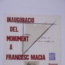 Coleccionismo de carteles: CARTEL INAUGURACIÓ DEL MONUMENT A FRANCESC MACIÀ, 1983, SUBIRACHS. 50X65,5CM. Lote 101613559