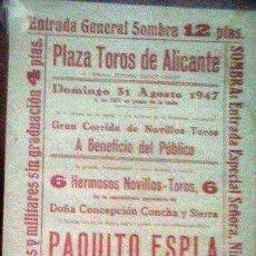 Coleccionismo de carteles: CARTEL TOROS PLAZA ALICANTE AÑO 1947. Lote 103201643