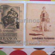 Coleccionismo de carteles: 1930 VERAMON Y LISIERES FLEURIES (2 ANUNCIOS) (1426). Lote 103409463