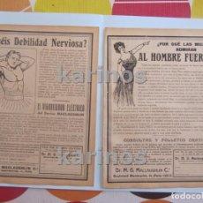 Collectionnisme d'affiches: 1912 VIGORIZADOR ELÉCTRICO DEL DOCTOR MACLAUGHLIN (2 ANUNCIOS) (VARIOS ANUNCIOS POR DETRÁS) (1447). Lote 103437255