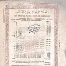 Coleccionismo de carteles: 1896. CARTEL LOTERIA NACIONAL CON LISTA DE PREMIOS. 22 X 31CM. Lote 104040051