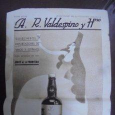 Coleccionismo de carteles: CARTEL. A.R.VALDESPINO Y HNO. 23 X 33CM. JEREZ DE LA FRONTERA. Lote 104255411
