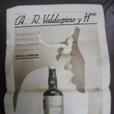 Coleccionismo de carteles: CARTEL. A.R.VALDESPINO Y HNO. 23 X 33CM. JEREZ DE LA FRONTERA. Lote 104255423