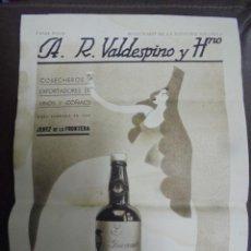 Coleccionismo de carteles: CARTEL. A.R.VALDESPINO Y HNO. 23 X 33CM. JEREZ DE LA FRONTERA. Lote 104255443