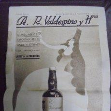 Coleccionismo de carteles: CARTEL. A.R.VALDESPINO Y HNO. 23 X 33CM. JEREZ DE LA FRONTERA. Lote 104255459