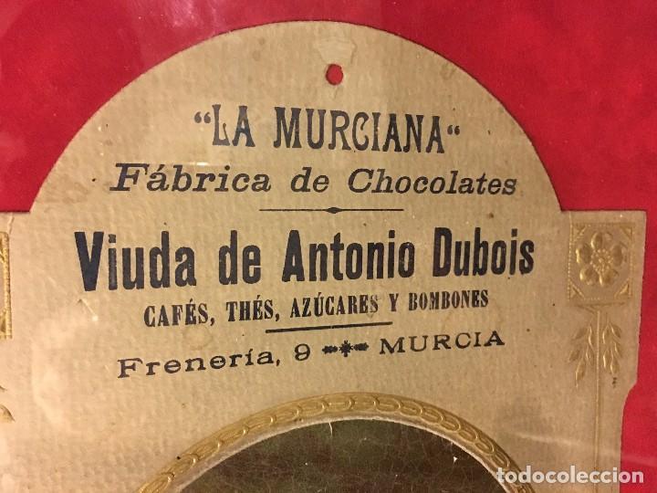 Coleccionismo de carteles: EXCELENTE CARTEL ORIGINAL ALTA EPOCA MODERNISTA FABRICA CHOCOLATE LA MURCIANA ORIGINAL S.XIX 1890 - Foto 4 - 105051219