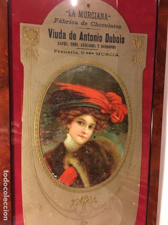 Coleccionismo de carteles: EXCELENTE CARTEL ORIGINAL ALTA EPOCA MODERNISTA FABRICA CHOCOLATE LA MURCIANA ORIGINAL S.XIX 1890 - Foto 2 - 105051219