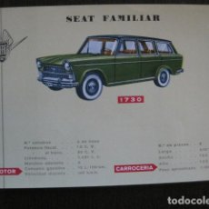 Coleccionismo de carteles: AUTOMOVIL -COCHE- FICHA CARTEL CARACTERISTICAS - SEAT FAMILIAR -VER FOTOS-(V-12.964). Lote 106252515